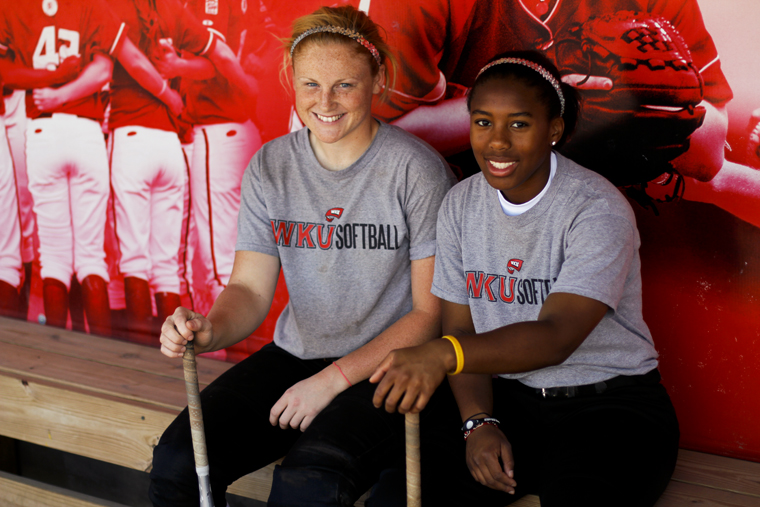 Freshman shortstop Amanda Thomas, left, and freshman second baseman Kelsie Mattox have hit a combined 12 home runs this season as of Wednesday. The team has hit 31 home runs so far this year.   DOROTHY EDWARDS / HERALD
