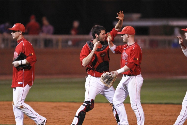 WKU+senior+catcher+Matt+Rice+celebrates+with+teammates+after+the+Toppers+game+against+Murray+State+at+Nick+Denes+Field+on+Wednesday+evening.+WKU+won+3-2.+