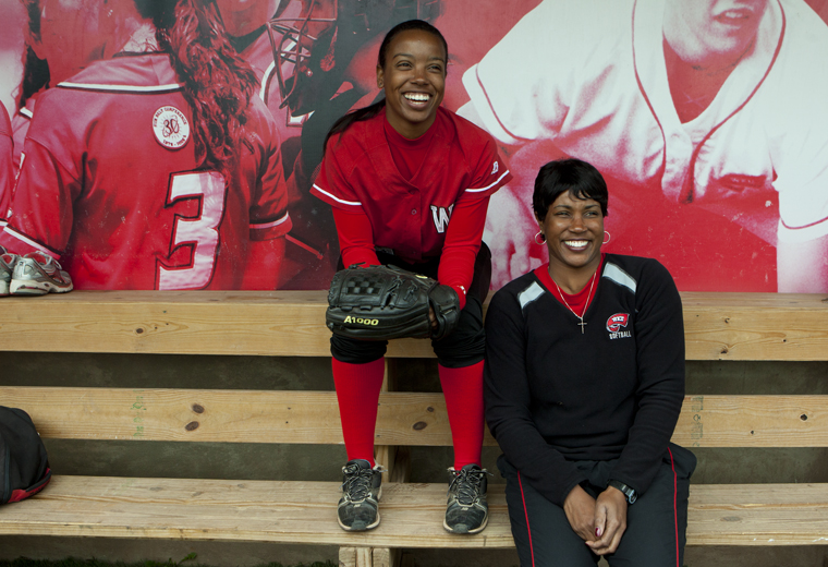 """DELAYNA EARLEY/HERALD WKU senior Brittney Perry has played softball for her sister Tyra Perry, WKU's head coach, since her freshman year of college.  """"We have a normal relationship,"""" Tyra Perry said."""