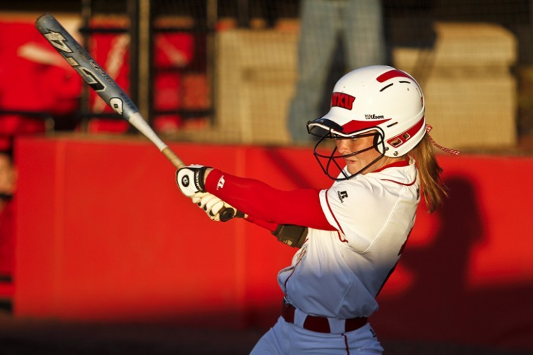 WKU junior and outfielder Laura Smith bats during the second game of Tuesdays doubleheader against Samford. WKU lost the first game 4-3 and won the second 8-0.