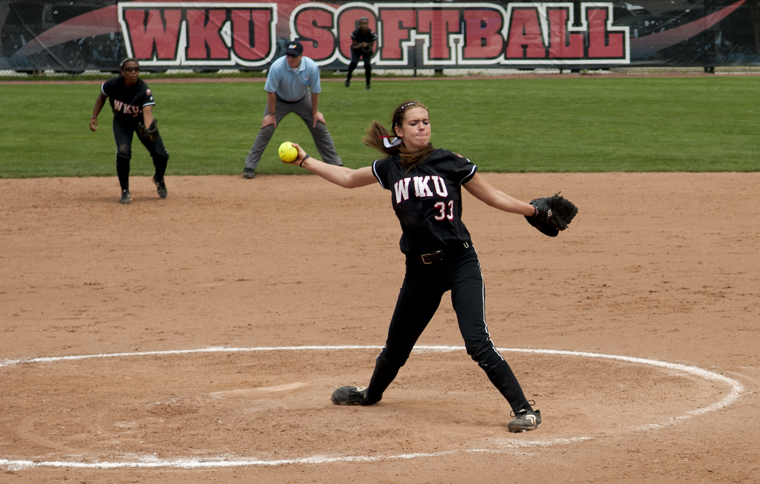 Freshman pitcher Brittanie Albright throws a pitch during the Lady Toppers' home game against Louisiana-Monroe last Saturday. Albright won two games in the three-game series.