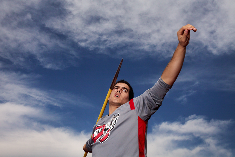 Ignacio+Guerra+prepares+to+throw+a+javelin+at+practice+on+Wednesday.+Guerra+set+the+NCAA-leading+mark+for+the+javelin+throw+in+his+first+meet+this+semester%2C+and+he+also+competed+for+Chile+in+the+2008+Beijing+Olympics.