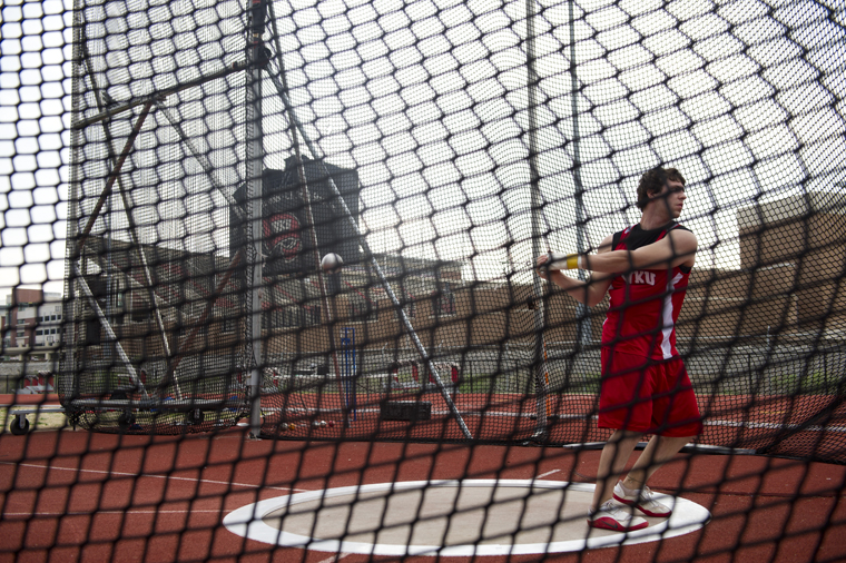 Freshman Zach Michaud participates in the hammer throw during Saturday's home track and field event. The Hilltopper Relays, which Head Coach Erik Jenkins said he'd like to continue to take place on the second weekend in April, is the only event WKU hosts each season.