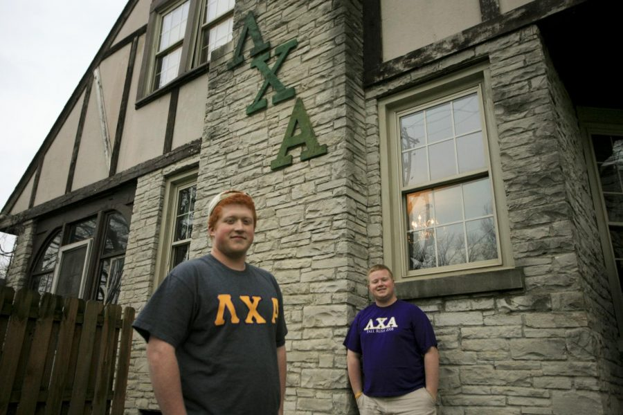 Bardstown sophomore Devon Hinderbrandt (left) is running unopposed for Administrative Vice President in next weeks SGA elections. Hinderbrandts Lambda Chi Alpha brother, Louisville senior Wade Pierce currently holds the position as Vice President.