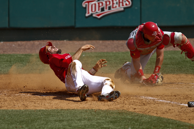 WKU+senior+catcher+Matt+Rice+slides+safely+into+home+during+the+Toppers%E2%80%99+game+against+Louisiana-Lafayette+at+Nick+Denes+Field+on+Sunday+afternoon.+WKU+lost+8-6.