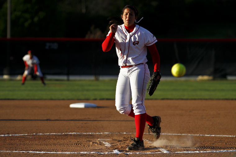 WKU sophomore Kim Wagner pitches to Samford's batter during the second game of Tuesday's doubleheader. WKU lost the first game 4-3 and won the second 8-0.