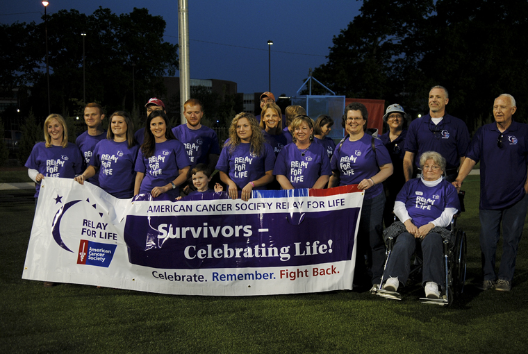 Cancer+survivors+pose+for+pictures+during+Relay+for+Life+in+Houchens-Smith+Stadium+this+weekend.+Many+were+multiple-generation+cancer+survivors+or+had+family+members+who+were+affected+by+different+types+of+cancer.+Those+affected+by+cancer+%E2%80%9Cnever+get+rest%2C%E2%80%9D+according+to+speaker+Kathryn+Steward%2C+assistant+director+of+health+education+at+WKU.+