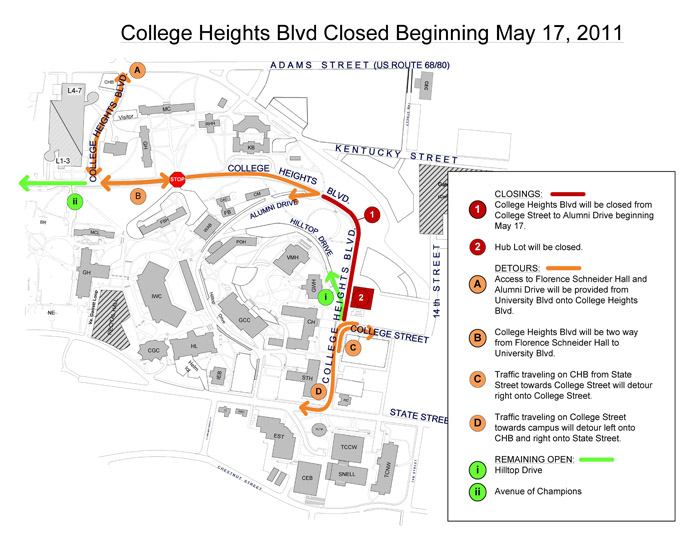 College Heights Boulevard closing