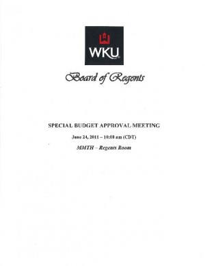 WKU Regents to vote on budget at special meeting Friday