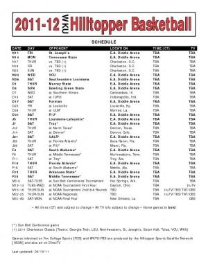 2011-2012 WKU men's basketball schedule released