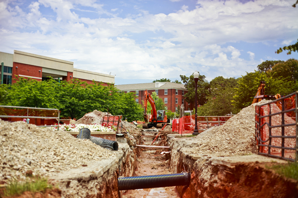Steam line construction between Minton Hall and DUC is now complete, according to WKU officials. Seen here in June, construction had closed the Minton Circle to thru traffic with much of the surrounding lawns torn up.