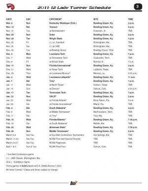 Lady Toppers announce 2011-2012 schedule
