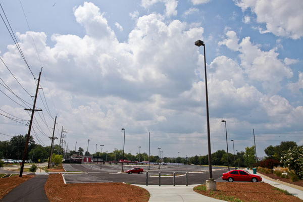 Creason lot has been reconfigured this summer, changing the design, layout and traffic flow of the lot that sits off Russellville Road in front of the softball field.