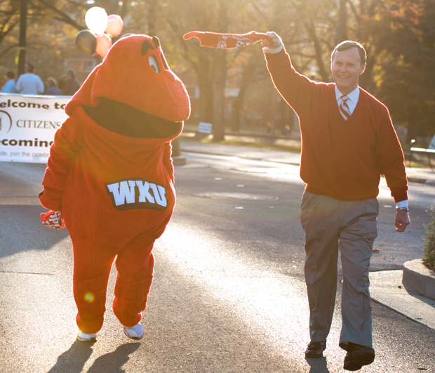 President Gary Ransdell walks with Big Red before last season's Homecoming game.
