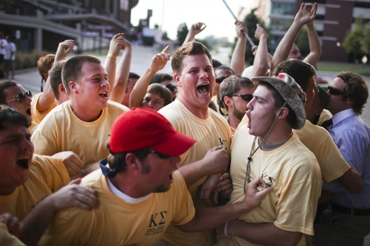 After receiving their bids Wednesday evening, potential new members of the Kappa Sigma Fraternity joined current members in celebration on South Lawn as part of Fraternity Bid Day.