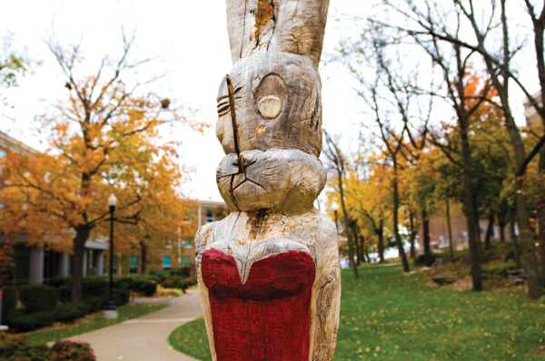 A wooden statue of a rabbit in a red dress at the top of the Hill was removed this summer by WKU because the old tree trunk had rotted out.