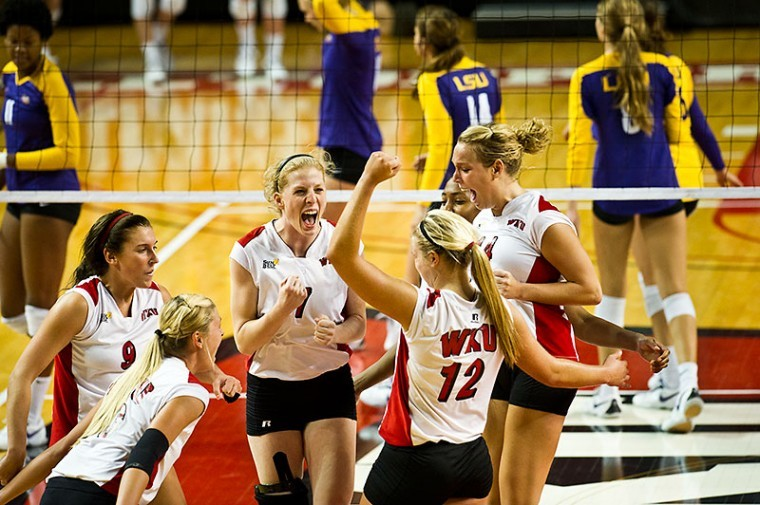 WKU players celebrate their 3-1 victory over LSU at the WKU Tournament in Diddle Arena on Saturday. Undefeated in the tournament, WKU improves their record to 9-1 for the season.