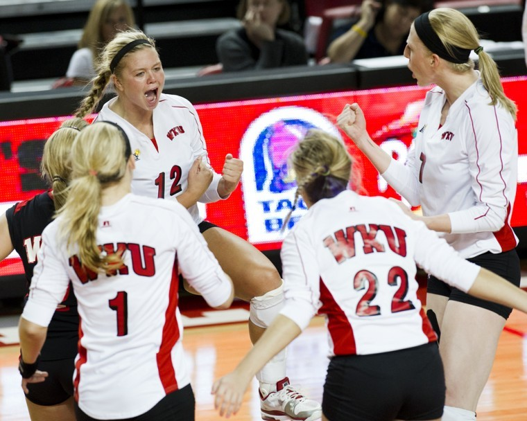 Junior+outside+hitter+Jordyn+Skinner+%2812%29+celebrates+a+block%0Aagainst+Wake+Forest+with+teammates+in+the+second+set+against+Wake%0AForest+in+the+WKU+Tournament+at+Diddle+Arena+on+Friday.%0A