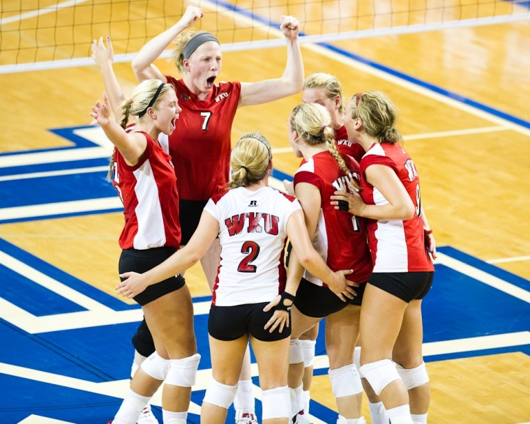 WKU+players+celebrate+an+ace+by+Sarah+Rogers+on+Saturday+during%0Athe+second+set+of+WKU%27s+3-0+win+over+Virginia+Tech+in+the+Kentucky%0AClassic.%0A