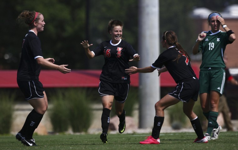 Redshirt+senior+forward+Mallory+Outerbridge+celebrates+her+first%0Aof+two+goals+against+Eastern+Michigan+on+Sunday+afternoon.+WKU+won%0A2-0.%0A