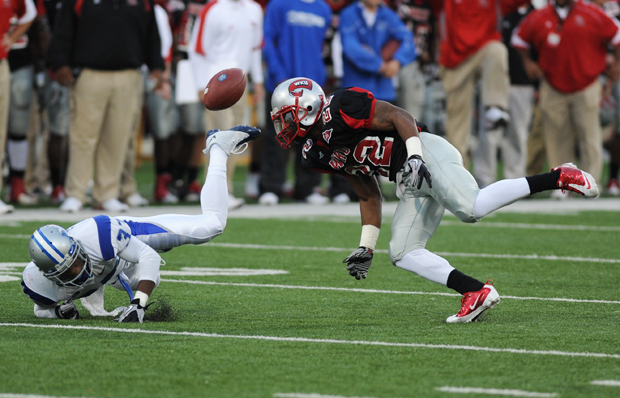 Sophomore defensive back Tyree Robinson keeps Middle Tennessee wide receiver Harold Turner Jr. from catching the ball in last season's game. Robinson and the rest of the secondary will be responsible for shutting down Arkansas State quarterback Ryan Aplin on Saturday.