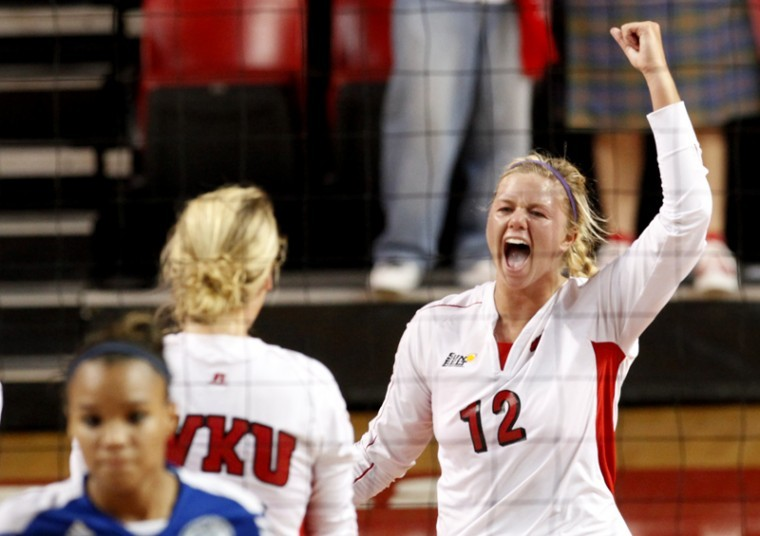 Junior+outside+hitter+Jordyn+Skinner+%2812%29+celebrates+during+a%0Agame+againts+Tennesee+State+on+Tuesday.+The+Lady+Toppers+won+3-0+to%0Aimprove+to+10-1.%0A