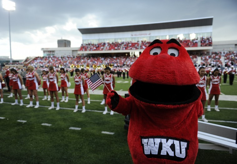 Big Red pauses for a moment of silence before WKU's football game against Navy on Sept. 10. Big Red has been part of the Capital One Mascot Challenge eight out of the last 10 years, even if its unknown what exactly Big Red is.