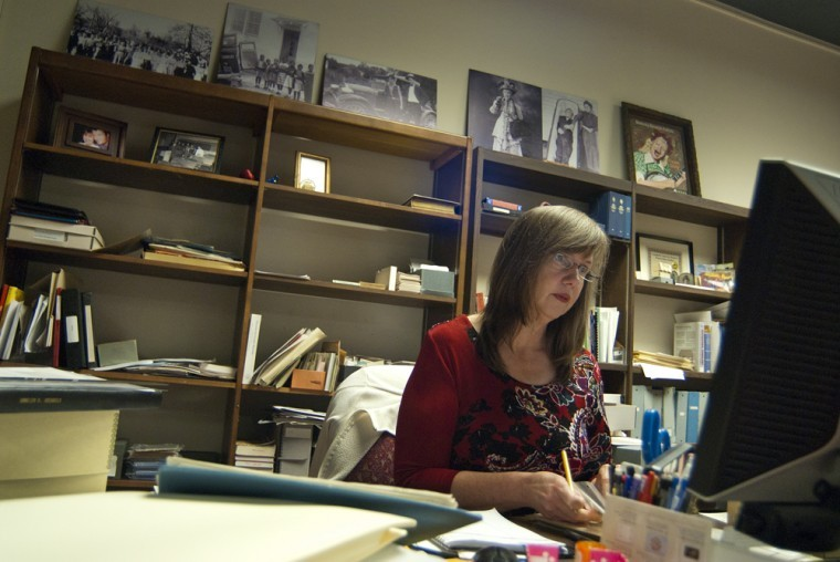 Nancy Richey, a visual resource librarian, logs historical documents into the WKU archive. Richey has been an Assistant Professor of Library Special Collections at the Kentucky Library and Museum on campus for the last three years.