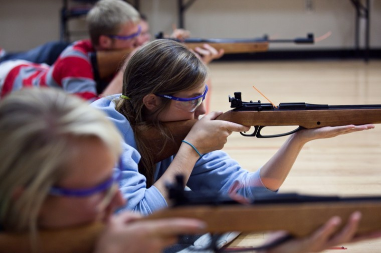 """In the marksmanship class located within theDepartment of Kinesiology, Recreation and Sport, Bowling Green junior Marilyn Kallstrom takes aim at her target. """"I had actually never seen a gun before,"""" Kallstrom said. """"I actually like it a lot."""""""