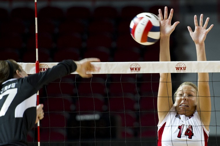 Sophomore+Melanie+Stutsman+goes+up+for+a+block+against+a+spike%0Afrom+Troy+at+Diddle+Arena+on+Friday.+WKU+swept+Troy+3-0+just+days%0Aafter+their+winning+streak+was+snapped+by+Middle+Tennessee.%0A