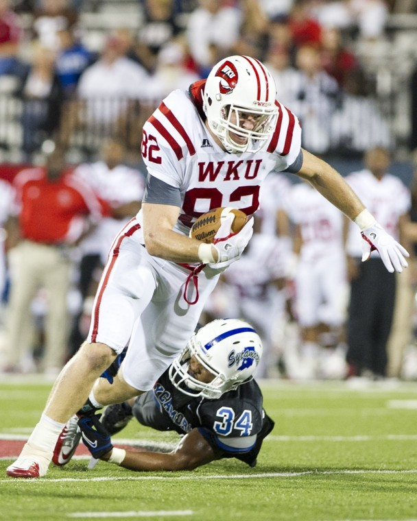 Tight end Jack Doyle stretches for a 10-yard gain after catching a short pass against Indiana State in the second quarter at Smith Stadium during WKU's 44-16 loss. Doyle could be an impact player in WKU's game against MTSU on Thursday.