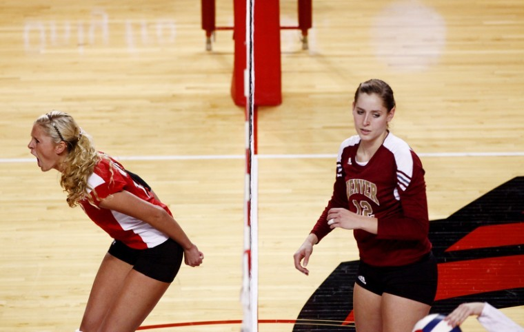 Senior+middle+hitter+Lindsay+Williams+celebrates+after+scoring+a%0Apoint+against+Denver+in+the+third+game+on+Friday+evening.+WKU+won%0A3-0.%C2%A0%0A