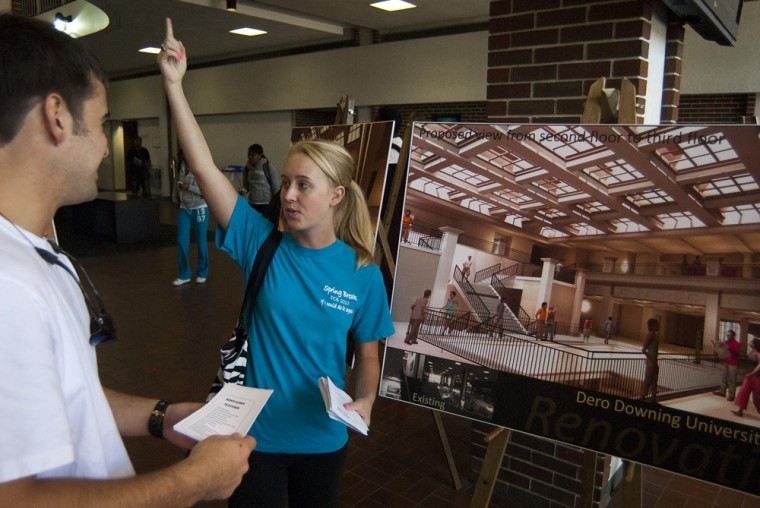 Natalie Broderick, Student Affairs Chairperson at with the Student Government Association, explains the proposed remodeling plans for Downing University Center. Planned additions include a Starbucks, 24-hour study space, elevators and renovated dining areas.