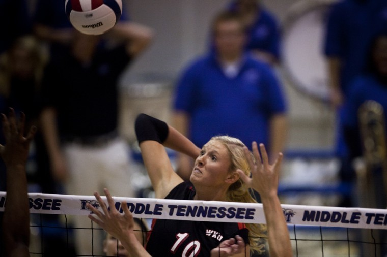 Senior+middle+hitter+Lindsay+Williams+goes+up+for+a+spike+during%0AWKU%27s+volleyball+match%C2%A0against+Middle+Tennessee+State+last+week.%0AWKU+defeated+MTSU+on+Saturday+to+win+the+Sun+Belt+Conference%0ATournament+championship.%0A