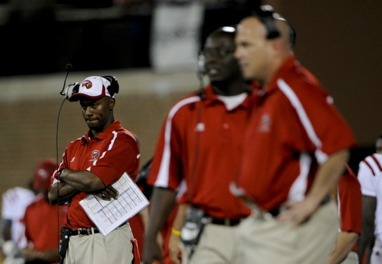 Head coach Willie Taggart stares during the second half of the WKU vs Indiana State game at Smith stadium. The Toppers are riding a five-game winning streak heading into Saturday's game vs. No. 1 LSU.