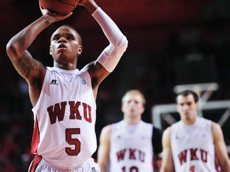 Freshman+guard+Derrick+Gordon+makes+one+of+his+16+free+throws%0AFriday+in+WKU%27s+72-61+loss+to+St.+Joseph%27s.+Gordon+scored+a%0Agame-high+25+points+and+pulled+down+eight+rebounds+in+his+Topper%0Adebut.%0A