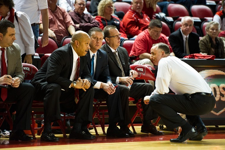 Head+Coach+Ken+McDonald+consults+Assistant+Coaches+Jake+Morton%2C%0ALawrence+Brenneman+and+Ray+Harper+during+the+last+few+minutes+of%0AWKU%27s+52-49+win+over+Tennessee+State.+WKU+will+face+2011+Final+Four%0Aparticipant+VCU+for+the+two+teams%27+second+straight+meeting.%0A