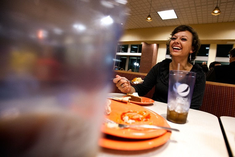 Princeton freshman Lindsey Byrd enjoys a slice of pie at The Fresh Food Company in Downing University Center. She eats out for almost every meal.