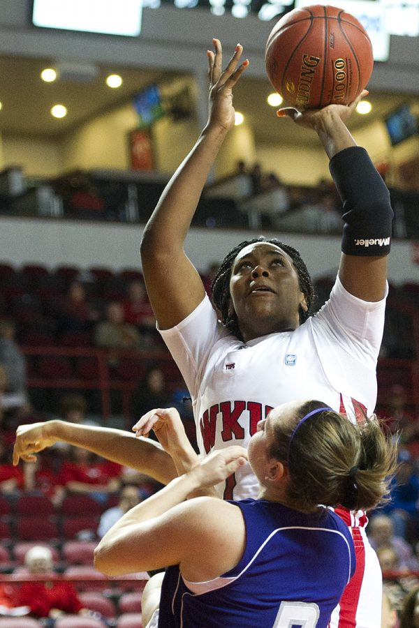 Senior+forward+Keisha+Mosley+draws+a+blocking+foul+while+going%0Aup+for+a+shot+against+Kentucky+Wesleyan+in+the+second+half+at%0ADiddle+Arena.%0A