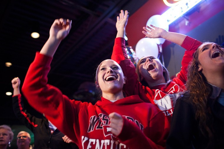 WKU+volleyball+players+react+to+their+placement+in+the+NCAA%0ATournament+during+a+party+Sunday+at+Buffalo+Wild+Wings.+The+Lady%0AToppers+will+play+Marquette+on+Friday+in+the+tournament%27s+first%0Around.%0A