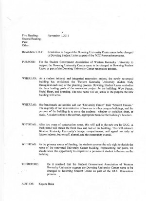 WKU SGA resolution for DUC name change going up for vote
