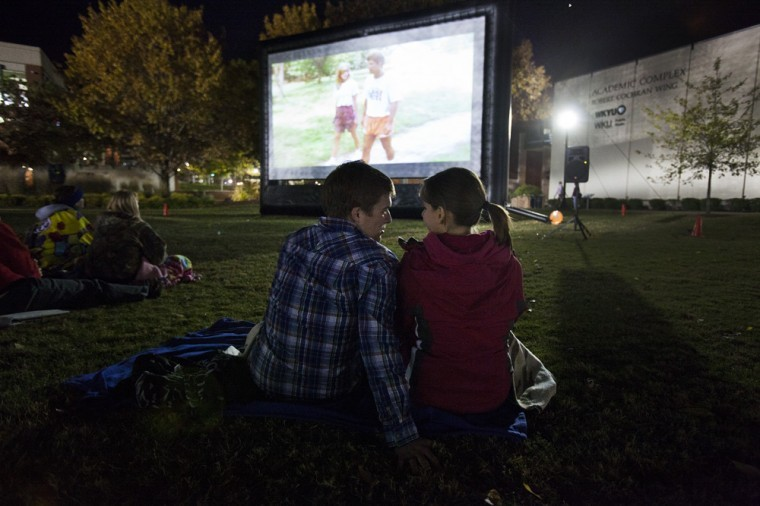 Students gather for a screening of Doug Robertson's 1991 cult classic Hauntedween on South Lawn Halloween night.