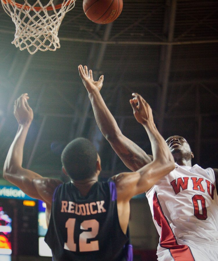 Sophomore forward Kene Anyigbo goes up for a shot during Saturdays game against Furman in Didddle Arena. WKU lost the game, 76-63.