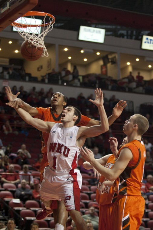 Freshman+guard+Kevin+Kaspar+is+fouled+as+he+attempts+a+shot%0Aduring+%C2%A0Sundays+game+against+Bowling+Green+State.+WKU+won+the+game%0A60-53+for+its+third+win+of+the+season.%0A