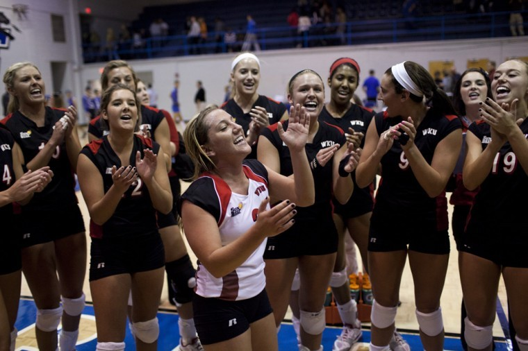 The+WKU+volleyball+team+celebrates+after+beating+Middle%0ATennessee+State+to+win+the+Sun+Belt+Conference+championship.+The%0ALady+Toppers+play+Marquette+at+4%3A30+p.m.+Friday+in+the+first+round%0Aof+the+NCAA+Tournament+in+Champaign%2C+Ill.%0A