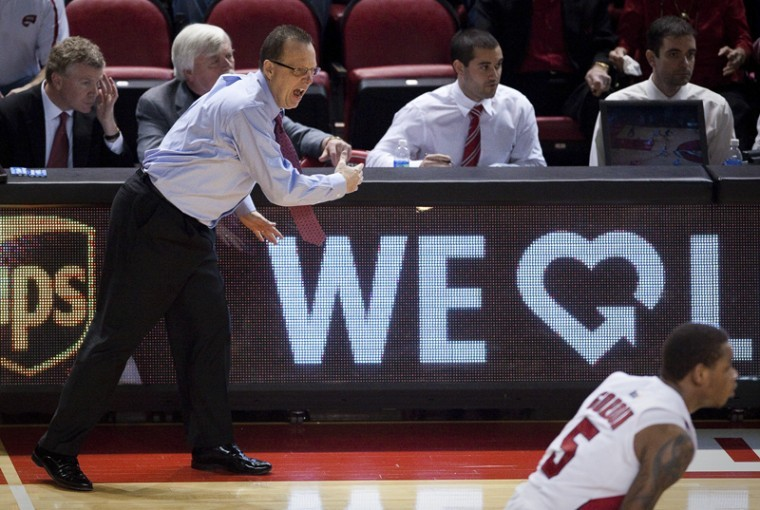 Interim Head Coach Ray Harper yells from the sideline during WKUs game against Troy on Saturday, Jan. 7 in Diddle Arena. Harper was named interim head coach after former Head Coach Ken McDonald was fired on Friday. WKU lost 67-65.