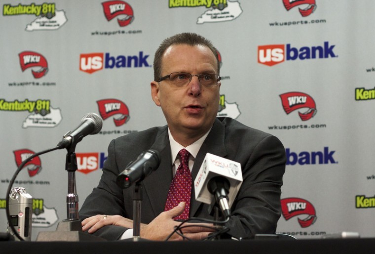 Newly appointed interim Head Coach Ray Harper discusses the dismissal of former WKU Head Coach Ken McDonald at a press conference in Diddle Arenas Media Room on Friday. Harper said he is focused soley on the next game, and getting the season back on track.