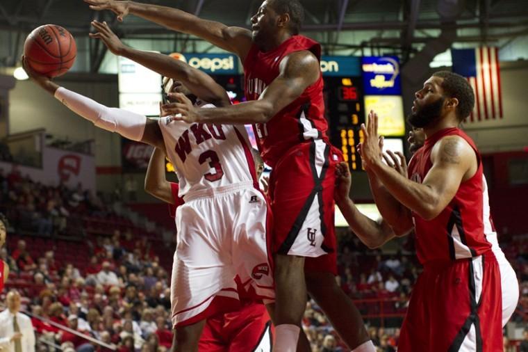 WKU+senior+guard+Kahlil+McDonald+shoots+a+lay-up+against%0ALouisiana-Lafayette+during+the+basketball+game+at+E.A.+Diddle+Arena%0Aon+Thursday.+Louisiana-Lafayette+won+the+game+in+overtime+with+a%0Afinal+score+of+72-70.%0A