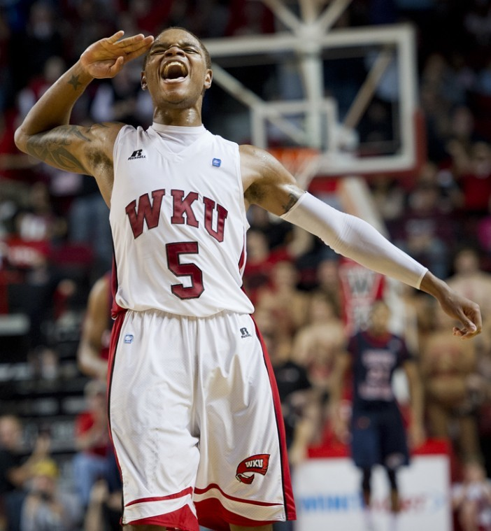 Freshman guard Derrick Gordon celebrates a three-pointer by freshman guard T.J. Price during an 8-0 run against South Alabama, giving WKU their biggest lead of the game. at Diddle Arena on Feb. 4. WKU won 75-66 in front of 6,407 fans — the largest home attendance of the season.