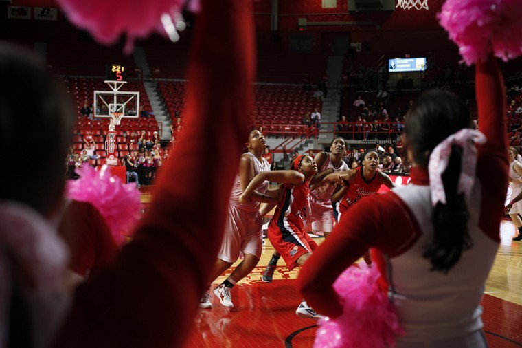 The Women's Cheerleading team used pink pom-poms during the Ladytopper's basketball game in support of Breast Cancer awareness. The team's Assistant Coach was diagnosed with Breast Cancer in May 2011 and is still going through chemo therapy treatments.
